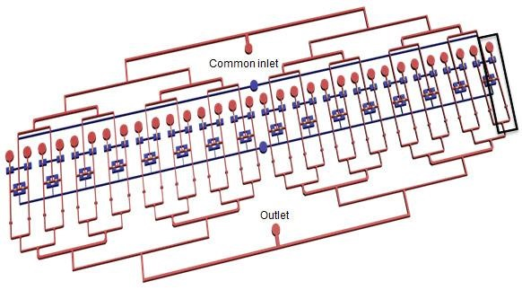This is a schematic drawing of the Rutgers lab-on-a-chip.  Credit:  Mehdi Ghodbane.