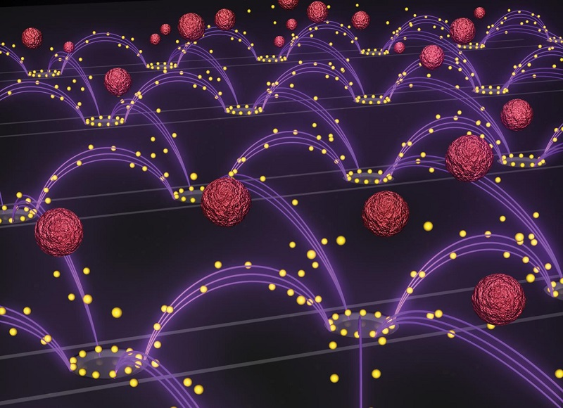 An artist's representation of the nanoparticle removal chip developed by researchers in Professor Michael Heller's lab at the UC San Diego Jacobs School of Engineering. An oscillating electric field (purple arcs) separates drug-delivery nanoparticles (yellow spheres) from blood (red spheres) and pulls them towards rings surrounding the chip's electrodes. The image is featured as the inside cover of the Oct. 14 issue of the journal Small.  Credit: Stuart Ibsen and Steven Ibsen.