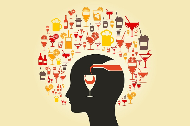 Alcohol choice in a head. A vector illustration